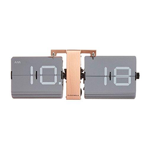Cloudnola Retro Flip Uhr - Grau und Kupfer - Stylische Tisch- und Wanduhr - Digitale Designer Flip Clock - Deko Uhr mit kupfernem Metall Standfuß- Moderne Designer Standuhr