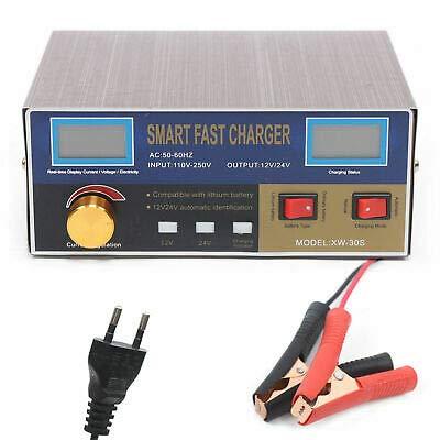 YOHIKOKIU Cargador de batería para coche inteligente, 12 V-24 V, adecuado para baterías de plomo y ácido de 6 Ah y 400 Ah, normas europeas