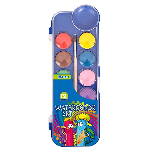 TTS - Caja de pinturas en caja de plástico estable, 12 colores