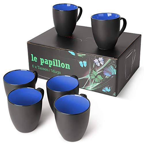 MiaMio - 6 x 350 ml Kaffeetassen/Kaffeebecher Set Außen Schwarz Innen Farbig (Blau)