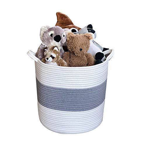 Greenf Laundry Baskets, Storage Baskets, Cotton Rope Basket Woven Baby Laundry Basket with Handle For Neutral Home Decor (White/Grey)