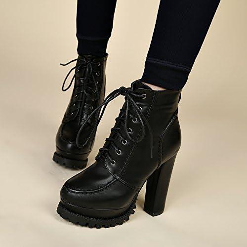 KHSKX-New Korean Lace Martin Stiefel schuhe De Tacon Stiefel Todo Partido Fashionista Con Gruesas Stiefel De AguaTreinta Y Sieteschwarz