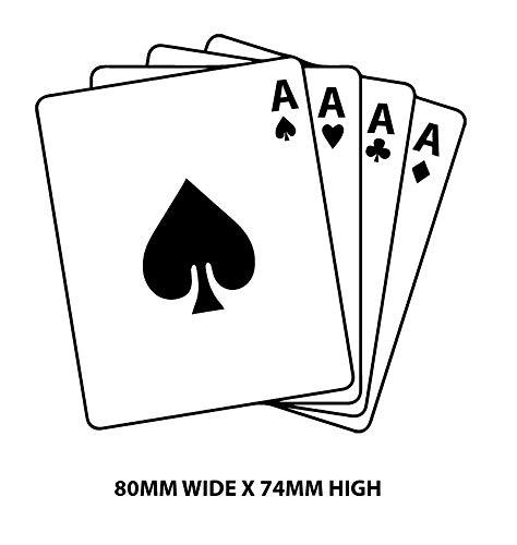 myrockshirt 4 ASSE Spielkarten AS 80x74mm Skat Kartenspiel Aufkleber Autoaufkleber Profi-Qualität ohne Hintergrund Sticker UV&waschanlagenfest
