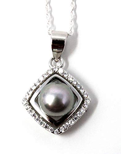 Catherine's C O L L E C T I O N Silver Cubic Zirconia 6.5-7mm Grey Freshwater Cultured Button Shape Pearl Square Pendant Necklace (Chain Length 45.75cm/ 18')