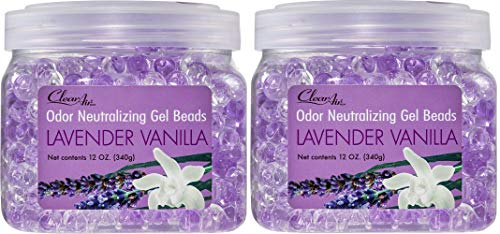 Clear Air Odor Eliminator Gel Beads - Eliminates Odors in Bathrooms, Cars, Boats, RVs & Pet Areas - Air Freshener Made with Essential Oils - Lavender Vanilla Scent - 2 Pack