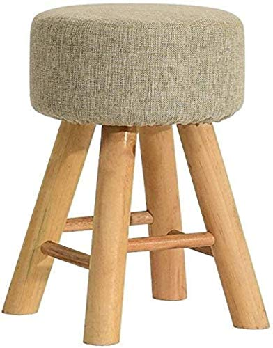 Chairs Wooden Bench, Upholstered Stool Bar Poffee Round High Stool Use Living Room Bedroom,Sofa Stool