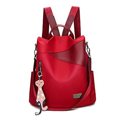 Damen Fashion Rucksack Wasserdicht Nylon Daypack Schultertasche Convertible Lightteight Anti-Diebstahl Schulumhängetasche Rucksack für Mädchen Damen, Rot - rot - Größe: 33 EU