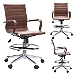 2xhome - Modern Ergonomic PU Leather Mid Back Ribbed Drafting Office Chair with Chrome Armrest Foot Rest Tiltable Seat Rolling Chair (Brown)