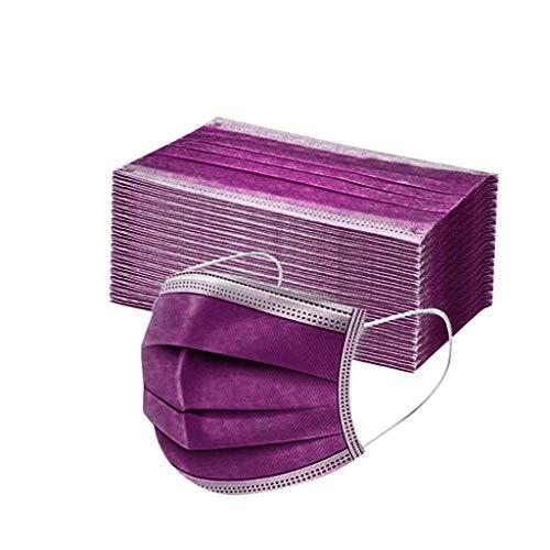 Sumeiwilly 50 Stück Einmal-Mundschutz, Staubs-chutz Atmungsaktive Drucken Mundbedeckung, Erwachsene, Bandana Face-Mouth Cover Halstuch Schlauchschal (Dunkelviolett)