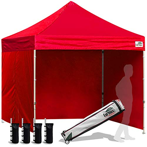 Eurmax 8x8 Feet Ez Pop up Canopy Tent, Pop-up Instant Tent, Outdoor Canopies Commercial Gazebo with Sidewalls and Roller Bag, Bonus 4 SandBags, (Red)