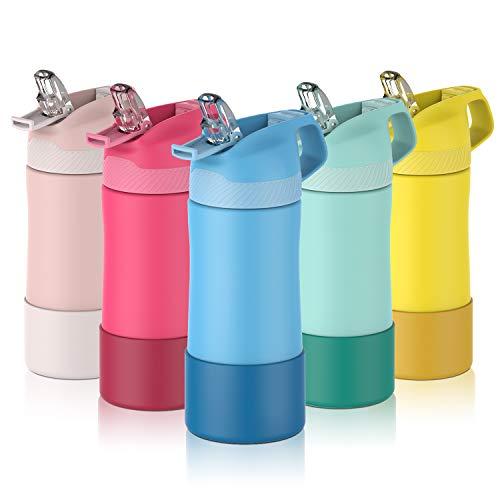 FJbottle 400ml Kinder Trinkflasche Edelstahl Vakuum Isolierte Wasserflasche BPA-frei auslaufsichere Thermosflasche Kinderflasche mit Strohhalm und Ventilationsloch für Sport/Outdoor/Schule