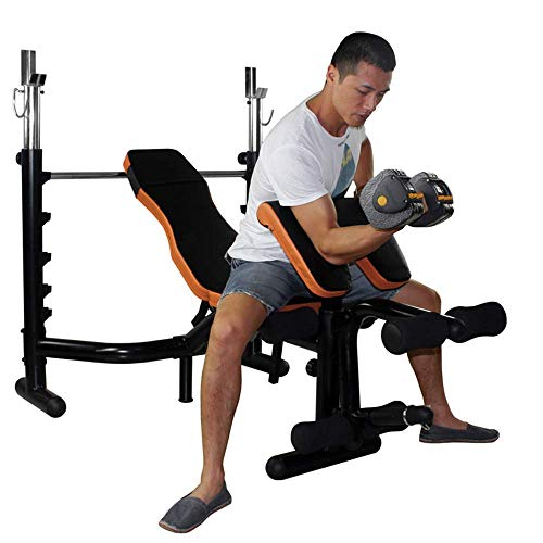 DBSCD Fitness-Trainingsgeräte, Standard-Hantelbank, Home-Multifunktions-Langhantelhalter, höhenverstellbar, Starke Tragfähigkeit