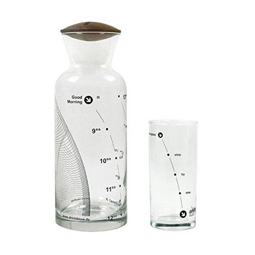 drinkitnow - Caraffa da ufficio con coperchio in legno di noce e bicchiere con ore, motivo ondulato