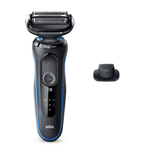Braun Electric Razor for Men, Series 5 5018s Electric Shaver with Precision Trimmer, Rechargeable, Wet & Dry Foil Shaver with EasyClean, Black/Blue