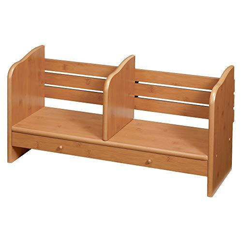 ぼん家具 【スライド式 ブックエンド 引出し付き】 ブックスタンド 卓上 木製 収納 本棚 本立て 幅60×奥行21cm ナチュラル