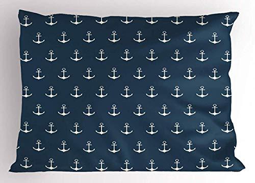 Funda de almohada de ancla, diseño náutico con colores clásicos y anclajes, diseño simplista, impresión de barco marinero, tamaño estándar decorativo, funda de almohada impresa, 30,5 x 45,7 cm, color blanco y azul