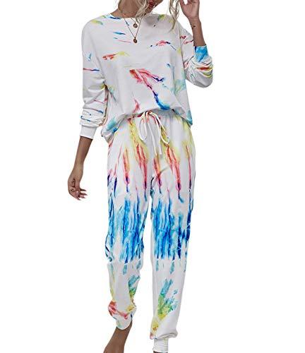 Maxmall Damen Schlafanzug Zweiteilige Pyjama Set Tie Dye Langarm Nachtwäsche mit...