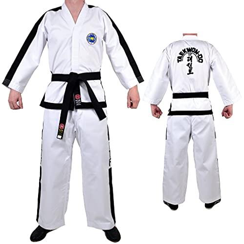 of martial arts uniforms MAR White Taekwondo Pro Master's Uniform/Suit/Gi – Unisex Polycotton Medium-Weight Fabric (8oz)