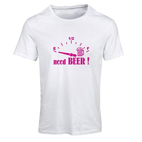 lepni.me Frauen T-Shirt Ich Brauche mehr Bier! Lustiges Geschenk, Trinkbar - Party - Slogans (Small Weiß Magenta)