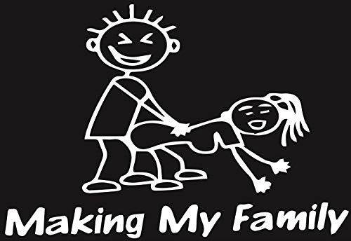 Making My Family Stick People Decal Euro Window Sick Funny Car Vinyl Sticker, White, Die Cut Vinyl Decal for Windows, Cars, Trucks, Tool Boxes, laptops, MacBook - virtually Any Hard, Smooth Surface
