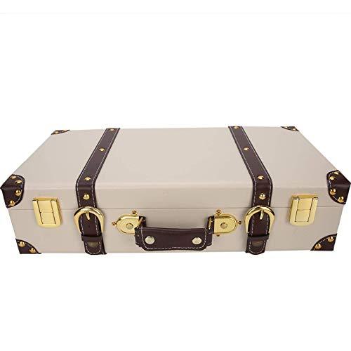 Sencillo y elegante Decoración de la maleta, mango de cuero rectangular de madera Caja decorativa de almacenamiento clásico de madera, accesorios de fotografía para tienda de decoración Ventana de pan