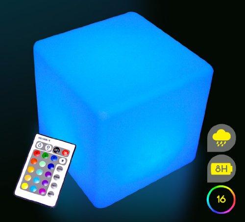 Mervy Cube LED Lumineux Multicolore 40cm Rechargeable avec Télécommande