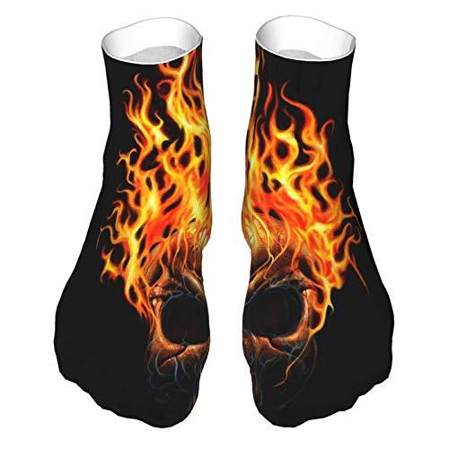 Feuchtigkeitsableitende, niedrig geschnittene Socken, leger, Sport, Knöchelsocken für Damen & Herren, Totenkopf-Design, Flammenfeuer, weiche Crew-Socken