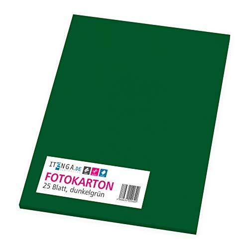 itenga Fotokarton 25 Blatt A4 300 g/qm - Tonpapier Tonkarton Druckerpapier Bastelpapier Bogen durchgefärbt zum kreativen Gestalten und Basteln (Dunkelgrün)