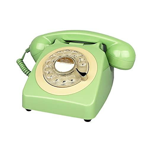 BTMING Teléfono con Cable Verde Retro Teléfonos fijos Antiguo Dial Rotary Teléfono Desktop Teléfonos Bonitos clásicos para la decoración del hogar (Color : Green Telephone)
