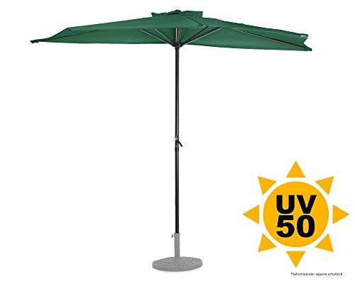 Ondis24 Wandschirm 2,7 x 1,4 Meter Sonnenschutz Sonnenschirm halbrund mit Kurbel, UV 50, Grün