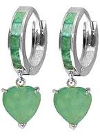 14Kソリッドゴールドフープイヤリングwith Emeralds