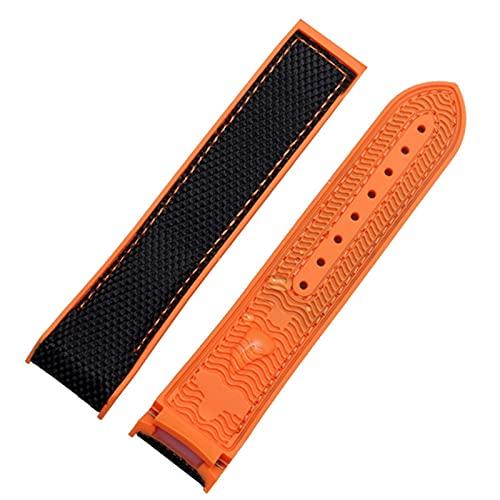 ZLRFCOK Correa de reloj de goma de nailon para hombre Omega con cierre desplegable y correa de reloj de pulsera de silicona (color de la correa: correa naranja, ancho de la correa: 20 mm)