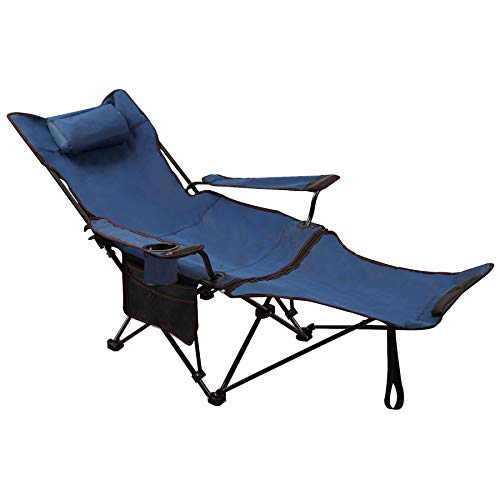 REDCAMP Camping Chair with Foot Rest, Heavy Duty Folding Camp Chairs for Adults 250 lbs, Lightweight Portable for Outdoor,Blue with Fabric Back