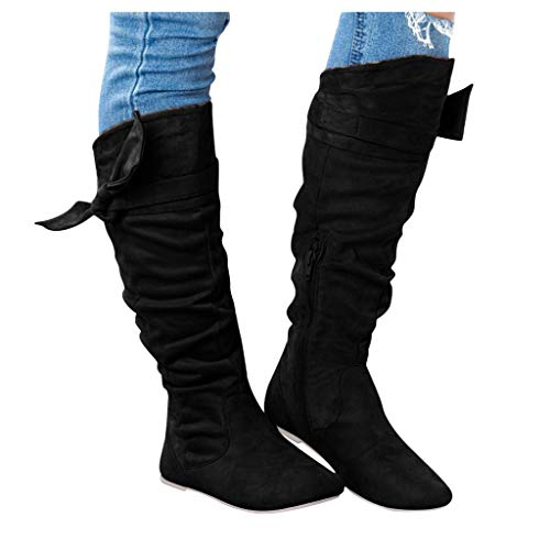 Knee High Boots for Women: Suede Pull Up Round Toe Zipper Walking Shoes Calf Long Booties with Bowknot ,e04 Black