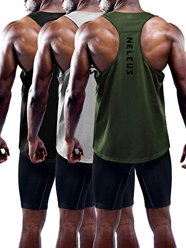 Neleus Men's 3 Pack Workout Running Tank Top Sleeveless Gym Athletic...