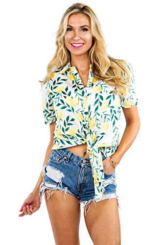 Women's White Laidback Lemon Hawaiian Shirt - Lemon Button Down Aloha Shirt