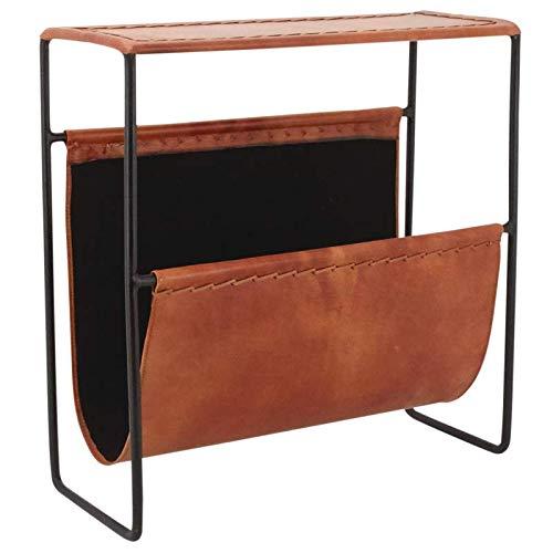 PEGANE Porte-revues en métal et Cuir, 44 x 18 x 48 cm