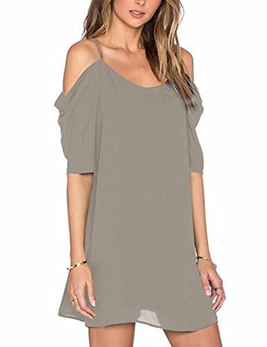 Imagine Women Chiffon Cut Out Cold Shoulder Puff Sleeve Spaghetti Strap Casual Loose Straight Party Dress(GY,S) Grey