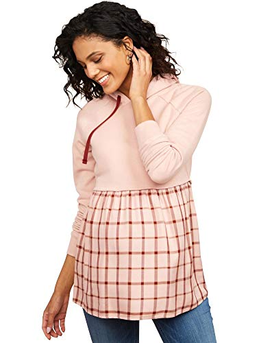 Motherhood Maternity Women's Maternity French Terry Hooded Mixed Media Twofer Babydoll, Rose Pink Plaid, Large