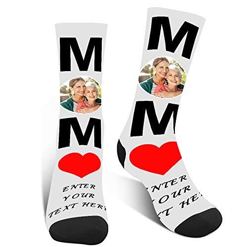 Luincas Calcetines Personalizados Cara, Estampados Calcetines Graciosos, Calcetin Personalizado, Divertidos Mujer,Día De La Madre Regalo