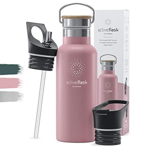 Trinkflasche Edelstahl Active Flask Bamboo + Strohhalm (3 Deckel) BPA-frei, Auslaufsicher, Kohlensäure geeignet - Wasserflasche Fahrrad Thermosflasche Isolierflasche Sport Wasser Flasche Kinder Tee