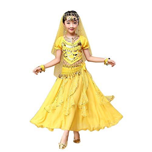Hunpta @ Kinder Mädchen Bauchtanz Outfit Kostüm Indien Dance Kleidung Top + Rock (Gelb, 120~135cm)