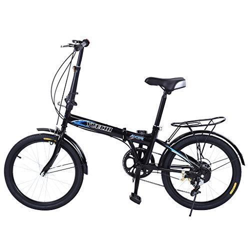Folding Bike for Adults Men and Women 7 Speed Lightweight Mini Folding Bike with V Brake (with Rear Rack)