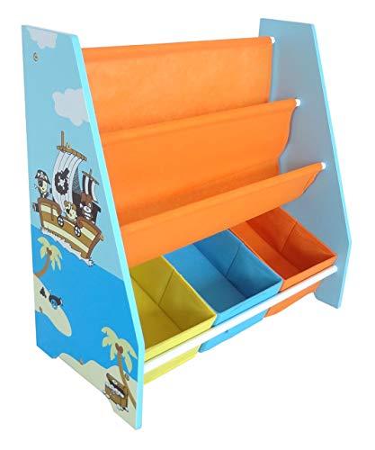 Kiddi Style les Enfants Bois Bibliothèque en toile motif pirate, étagère rangement pour enfant