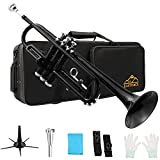 Eastrock Black Brass Standard Bb Trumpet Instrument with Carrying Case,Trumpet Stand,Gloves, 7C Mouthpiece and Cleaning Kit for Student Beginner