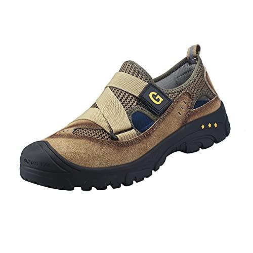 Aingrirn Zapatos de Seguridad Hombre Mujer con Puntera de Acero Ultra Liviano Transpirables y cómodo Zapatillas de Trabajo Unisex (Color : Beige, Size : 37 EU)