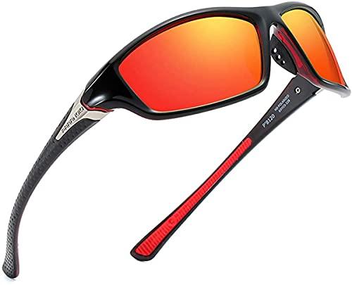 Mantimes Gafas de sol para hombre Deportes ciclismo running Rectangular mujeres polarizadas gafas de sol hombre conducción golf béisbol gafas de espejo (rojo)