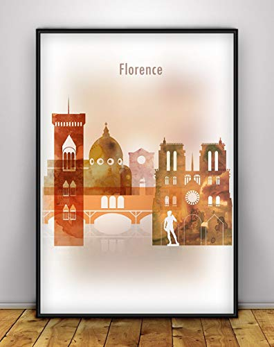 Florence Cityscape Print, Italy Skyline Vertical Poster, Wall art, Italy Cityscape, Firenze Skyline, Colorful City Poster, Bedroom Decor