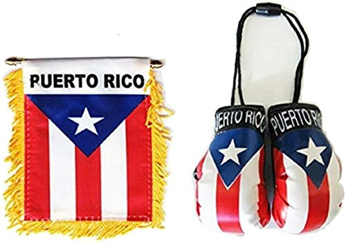 Natco Set of Puerto Rico Window Hanging Car Flag, & Puerto Rico Boxing Glove