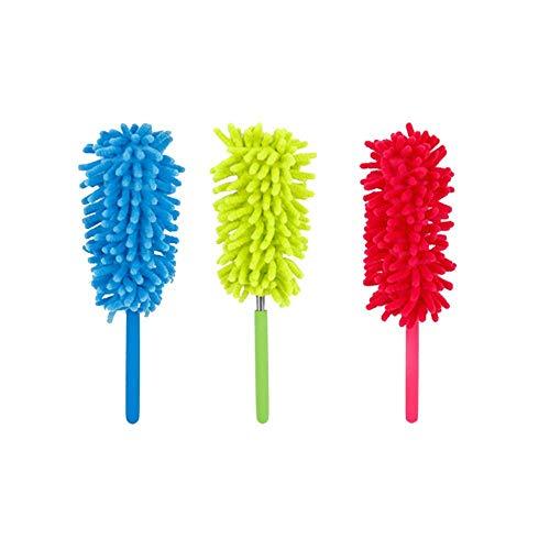 Microfibra Plumero,3 Plumeros De Plumas Retráctiles De Microfibra.Cepillo Para El Polvo Lavable Con Una Distancia Telescópica De 25 a 70 Cm Para El Hogar, La Oficina y El Automóvil (Azul/Verde/Rosa)